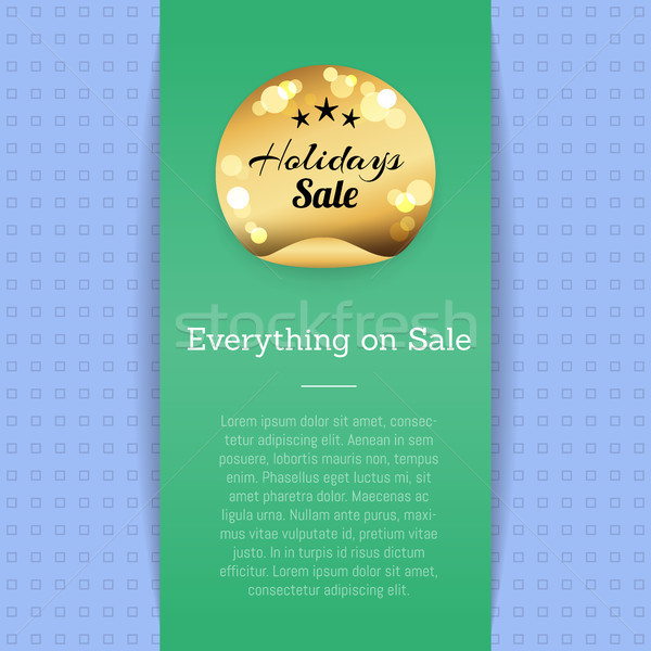 Stock photo: Everything on Sale Golden Label with Stars Poster