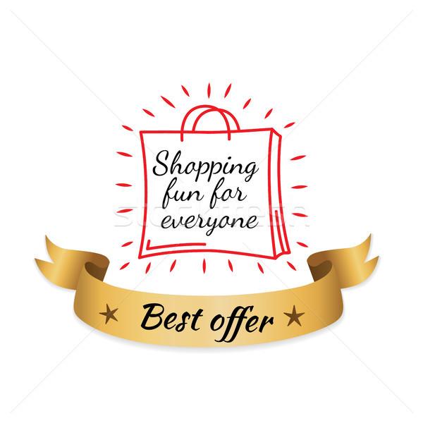 Vásárlás jókedv mindenki legjobb ajánlat arany Stock fotó © robuart