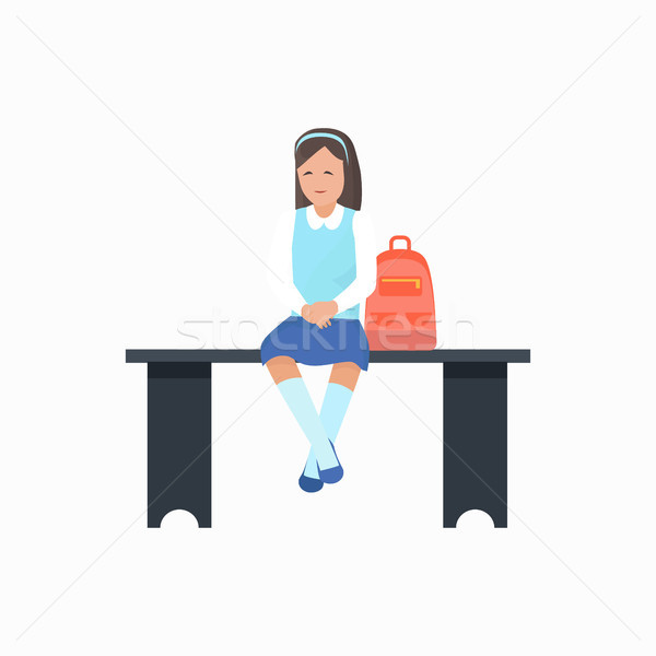 Girl with Bag Sitting on Bench Vector Illustration Stock photo © robuart