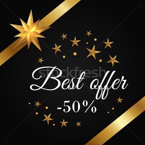 Legjobb ajánlat 50 promo poszter arany Stock fotó © robuart