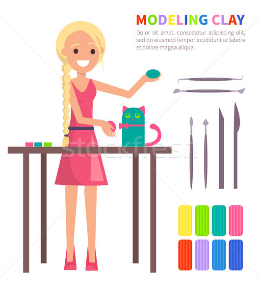 Modeling Clay Banner with Woman Making Cat Vector Stock photo © robuart