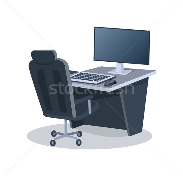 Desk with Computer and Chair Vector Illustration Stock photo © robuart