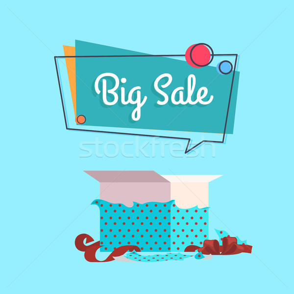 Stock photo: Big Sale Open Gift Box in Dotted Wrapping Paper