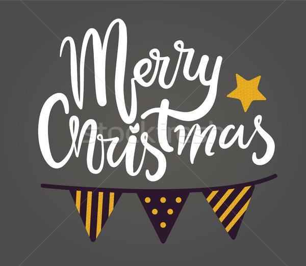 Wesoły christmas gratulacja plakat dekoracje Zdjęcia stock © robuart