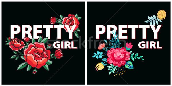 Güzel kız ayarlamak posterler kırmızı gül çiçeklenme Stok fotoğraf © robuart