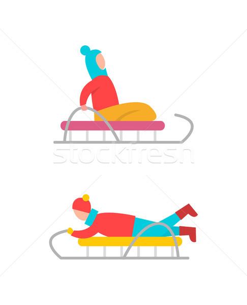 Children on Sled Winter Fun Vector Illustration Stock photo © robuart