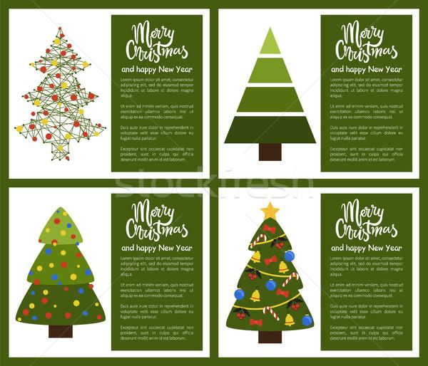 Stockfoto: Vrolijk · christmas · gelukkig · nieuwjaar · poster · ingesteld · posters