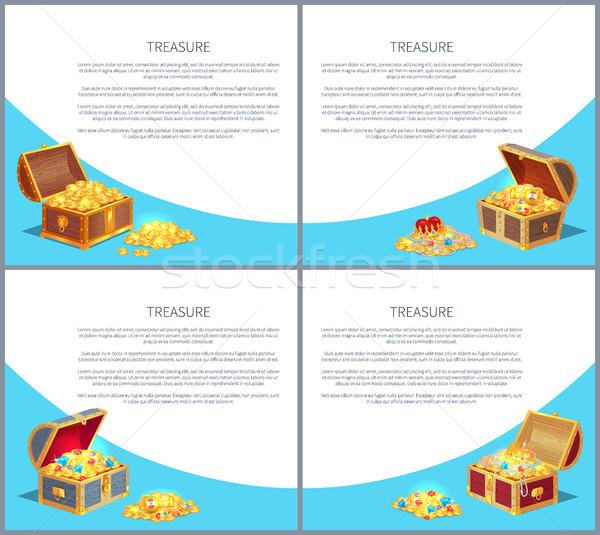 Skarb plakaty zestaw złota starożytnych monet Zdjęcia stock © robuart