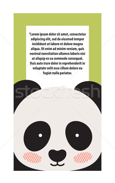 Panda Animal Cover and Text Vector Illustration Stock photo © robuart