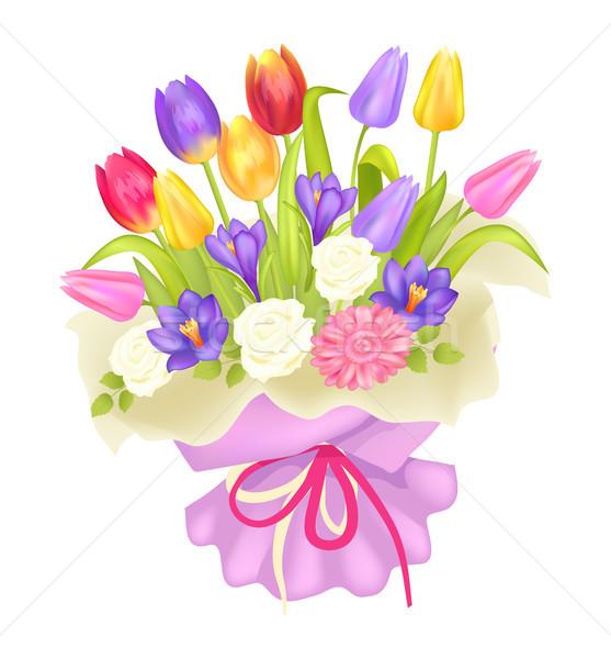 Buket çiçekler lale çiğdem Stok fotoğraf © robuart