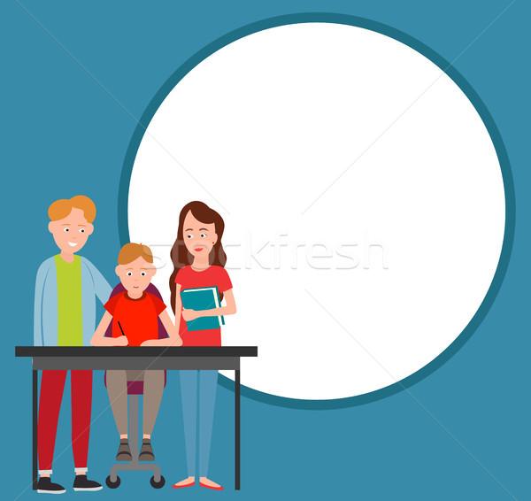 Rodziców pomoc chłopca praca domowa wektora odizolowany Zdjęcia stock © robuart