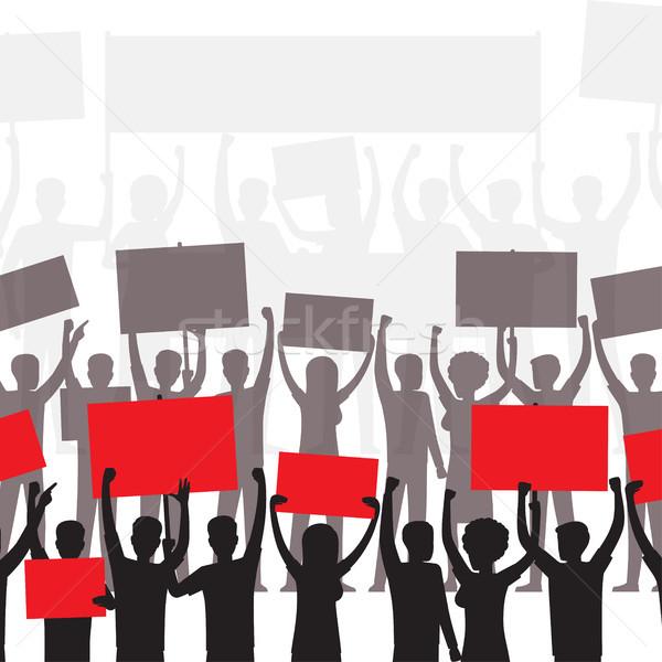 Openbare protest politiek demonstratie mensen silhouetten Stockfoto © robuart