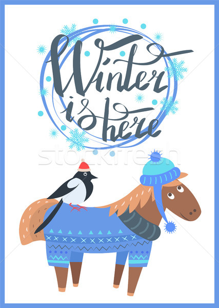 Winter is Here Promo Poster Vector Illustration Stock photo © robuart