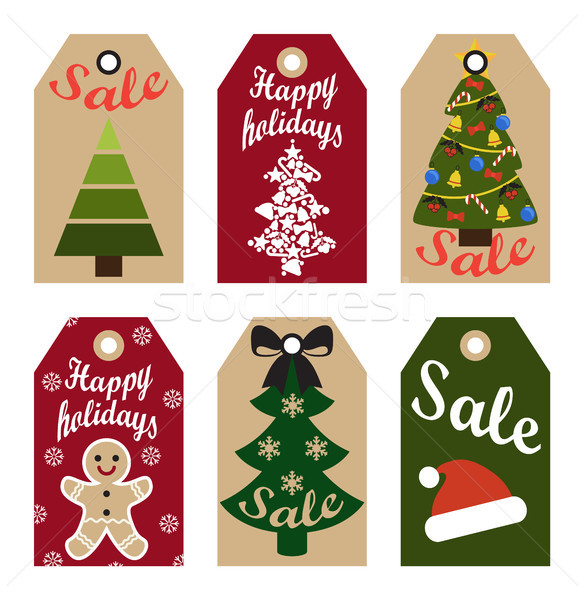 Happy holidays sale labels hanging promo stickers Stock photo © robuart