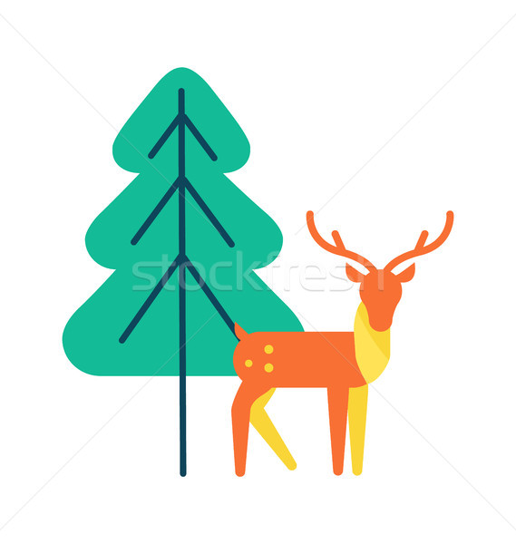 Deer Animal Icon, Horned Reindeer in Orange Color Stock photo © robuart