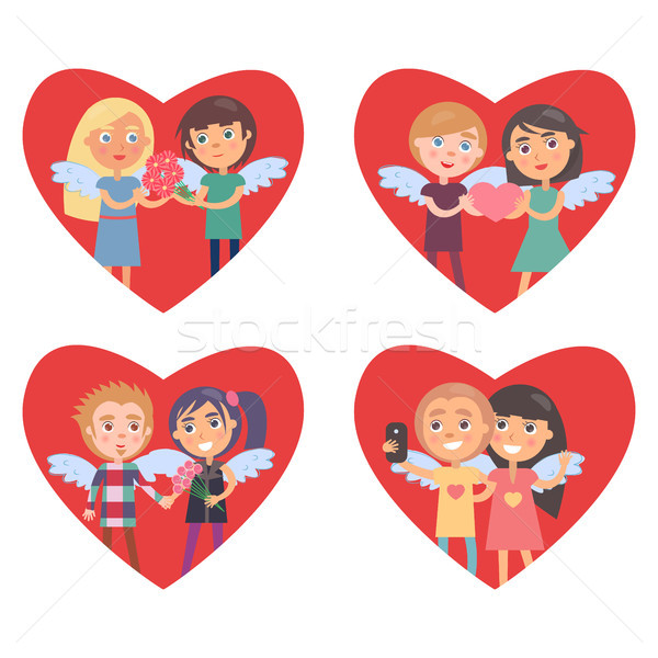 Four Hearts with Lovers in Them Valentine Cards Stock photo © robuart