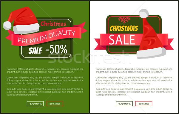 Karácsony vásár mikulás sapkák promo címkék Stock fotó © robuart