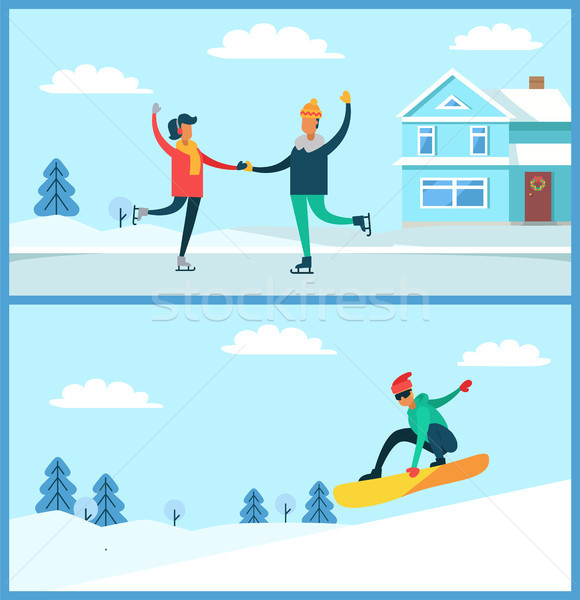 People Skating, Snowboarding Vector Illustration Stock photo © robuart