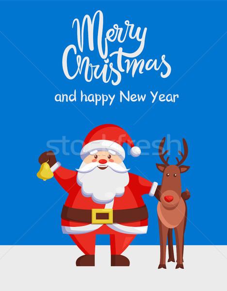 Vidám karácsony boldog új évet poszter mikulás szarvas Stock fotó © robuart