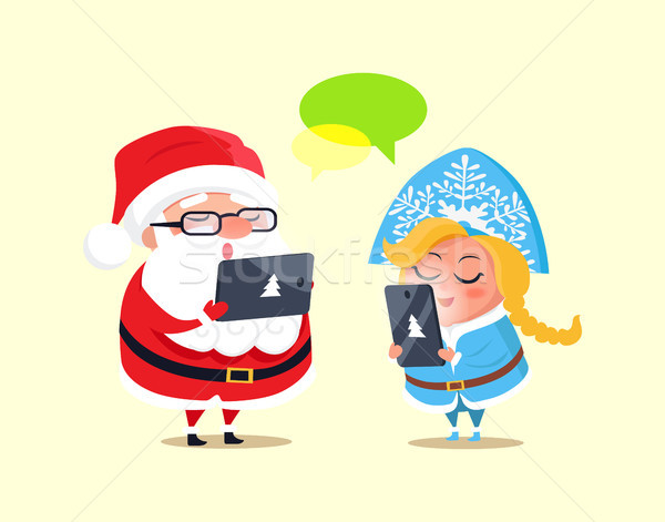 Stock photo: Santa, Snow Maiden and Gadgets Vector Illustration