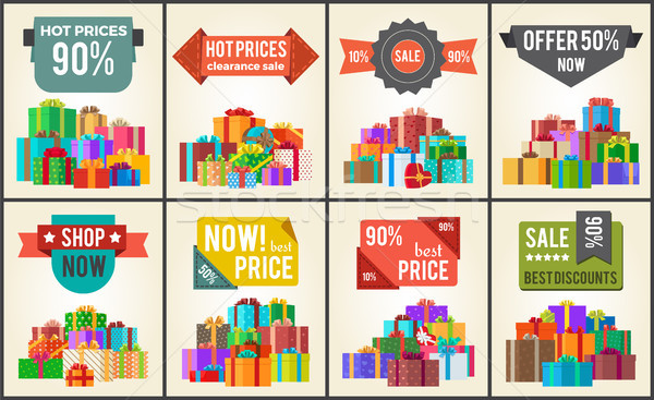 Hot Prices Sale Discounts Promo Labels Percent Off Stock photo © robuart