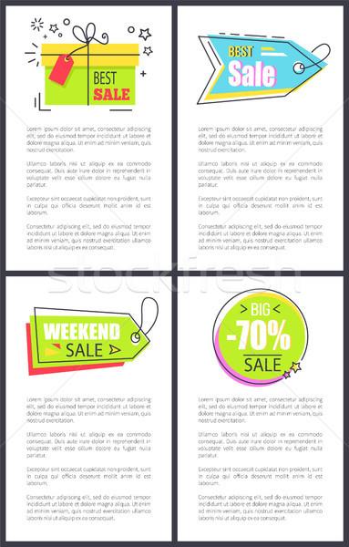 Mejor fin de semana venta carteles establecer hasta Foto stock © robuart