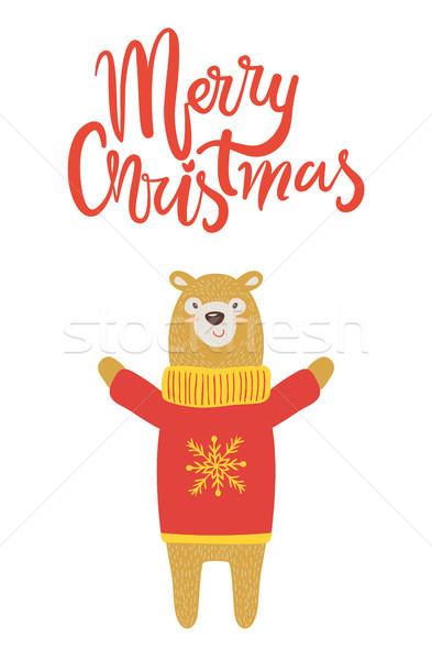 Allegro Natale banner congratulazione orso bianco Foto d'archivio © robuart