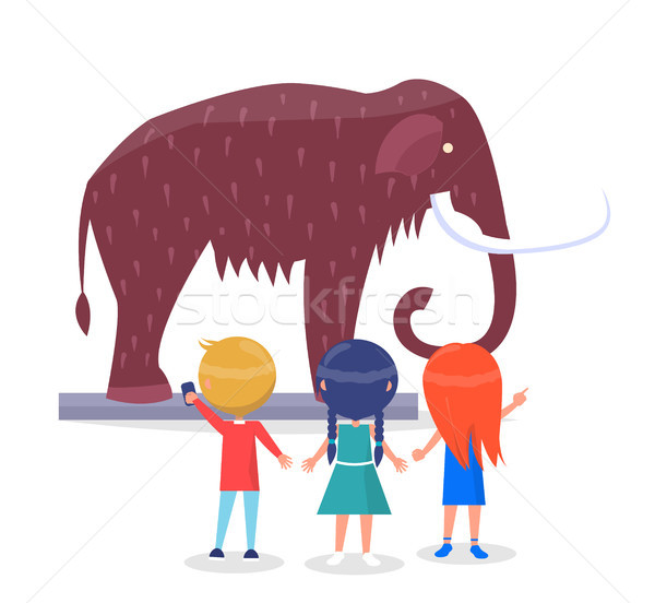 Kids Admiring Mammoth Model Isolated Illustration Stock photo © robuart