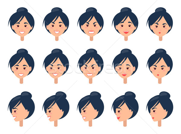 Set of Different Emotions on Cute Female Face Stock photo © robuart