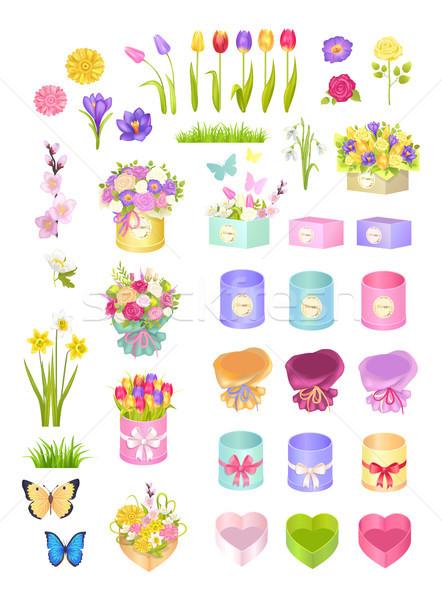 Kutuları çiçekler toplama dekorasyon yaylar Stok fotoğraf © robuart