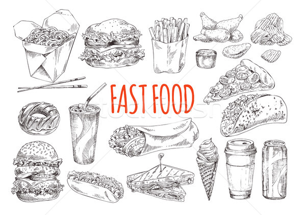 Tasty Fast Food Promotional Monochrome Poster Stock photo © robuart