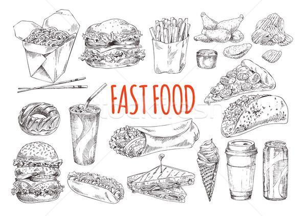 Smakelijk fast food monochroom poster promo Stockfoto © robuart