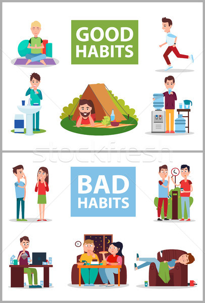 Good and Bad Habits Poster Vector Illustration Stock photo © robuart