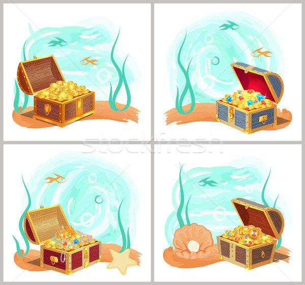 Mermaids Treasures in Chest at Bottom of Sea Set Stock photo © robuart