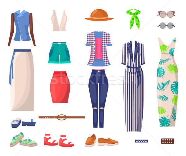 Stock photo: Female Bright Summer Clothes and Stylish Shoes Set