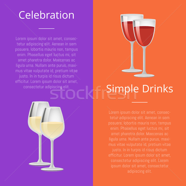Celebration Simple Drink Poster Rd and White Wine Stock photo © robuart