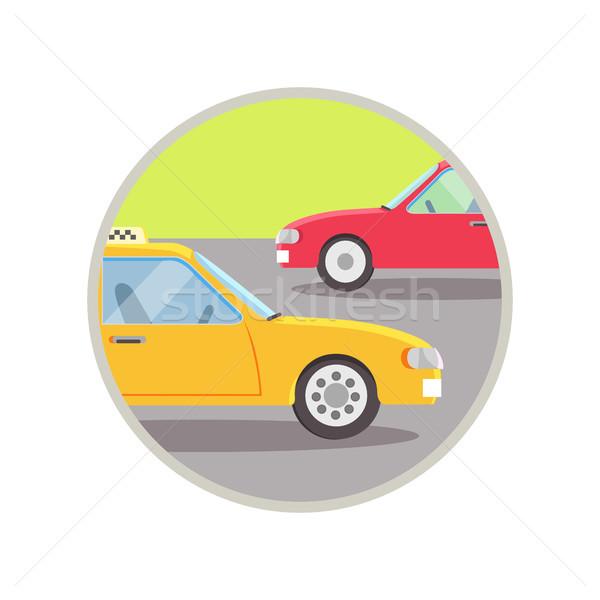 şehir taşıma taksi ikon sarı yol Stok fotoğraf © robuart