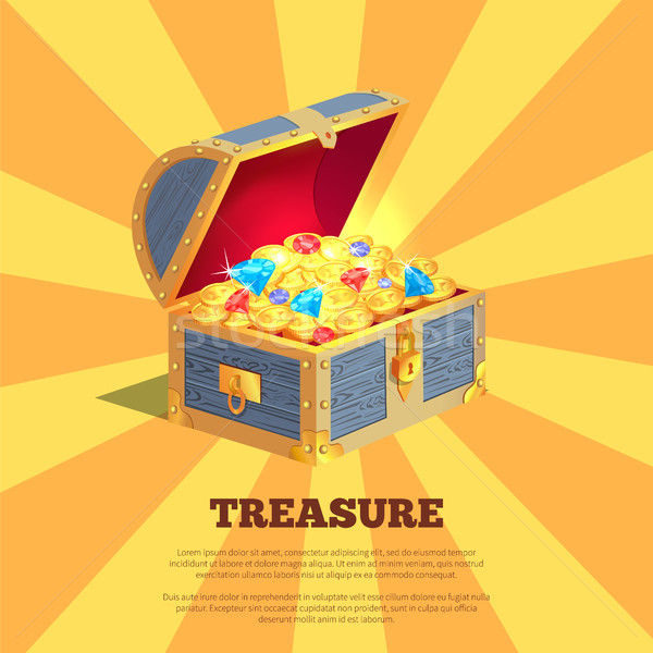Treasure Poster with Wooden Chest Full of Ancient Gold Stock photo © robuart