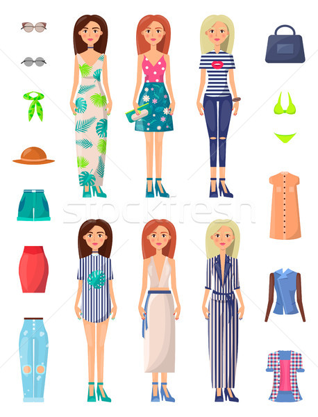 Ladies and Summer Mode Set Vector Illustration Stock photo © robuart