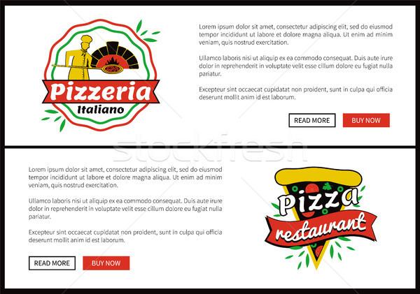 Pizza restauracji Internetu internetowych promo Zdjęcia stock © robuart