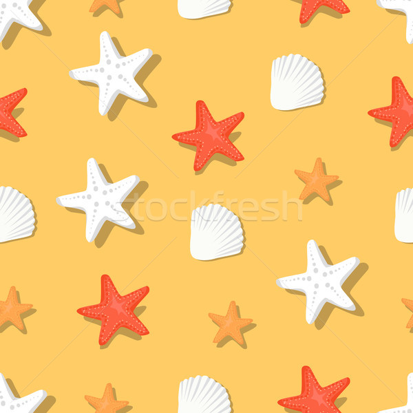 Color Aquatic Nautical Shellfish and Coral Stars Stock photo © robuart