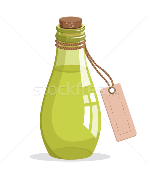 Bottle with Cork and Tag, Vector Illustration Stock photo © robuart