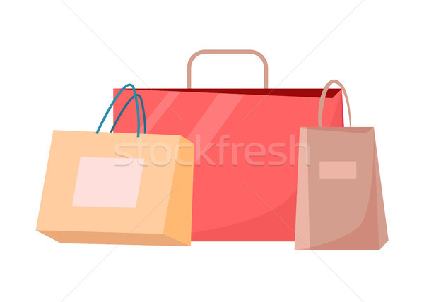 Paper Shopping Bags Vector Disposable Packages Stock photo © robuart