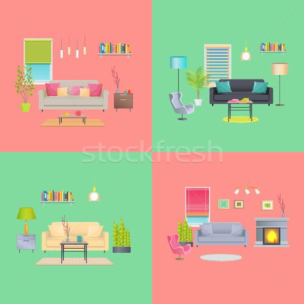 Set of Various Room Interiors Banners, Flat Design Stock photo © robuart