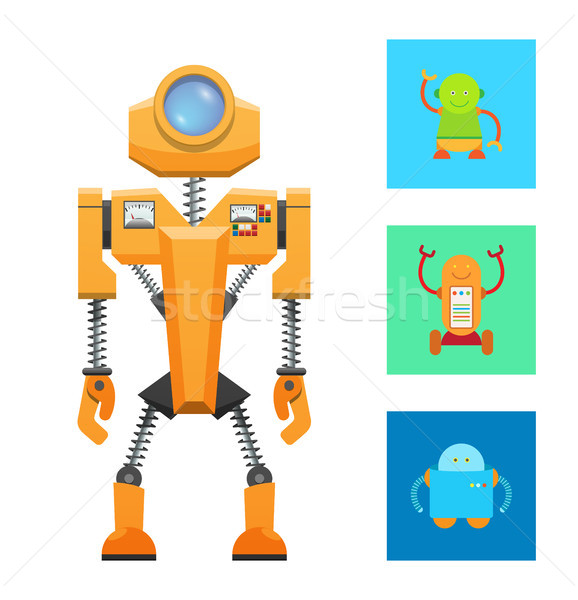 Futuristic Machine Concept, Yellow Robot Icon Stock photo © robuart