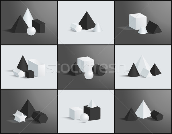 Collection of Various Geometric Figures and Prisms Stock photo © robuart