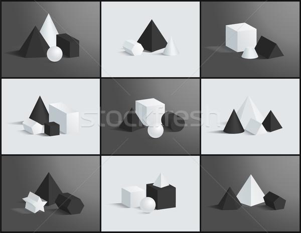 Raccolta geometrica piazza piramidi sfera Foto d'archivio © robuart
