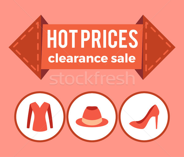 Hot Prices Clearance Sale Promo Advert on Arrow Stock photo © robuart