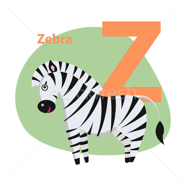 Zoo ABC Letter with Cute Zebra Cartoon Vector Stock photo © robuart
