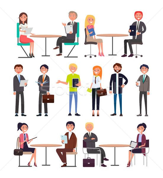Office Workers with Briefcases Daily Routine Set Stock photo © robuart